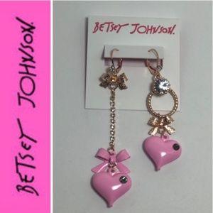 Betsey Johnson Pink Bubble Heart Mismatch Earrings
